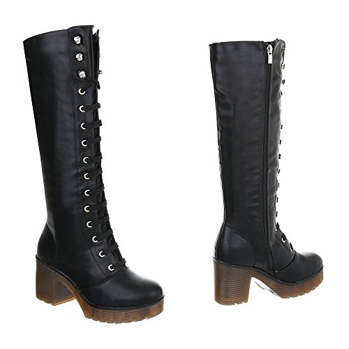 Zapatos para mujer Botas Tacón ancho Botas con cordones Ital-Design Negro A-37-1