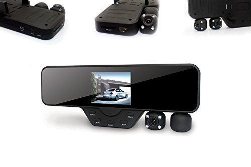 Black Box M1000 Rearview Mirror Dash Cam - Dual Camera Rotating Lenses & Full HD Car DVR Video Recorders - Wide Angle, G-Sensor, 60FPS, WDR Night Video & Motion Detection (16GB SD Included)