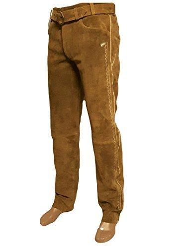 SHAMZEE Trachten Lederhose lang inklusive Gürtel in Camel farbe Echt Leder SHAMZEE Trachtenlederhosen Gr. 46-62 (taillenmaß stehen im beschreibung) (58, Camel)