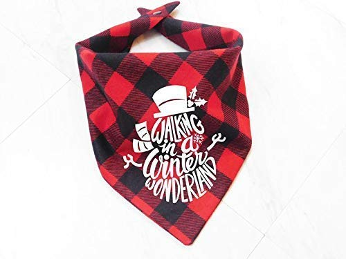 Cute Washable Plaid Checkered Whoa Dog E Walking In A Winter Wonderland Snowman Red Plaid Dog Cat Pet Bandana Triangle Bibs Holiday Scarf For Extra Small Small Medium Large Animals