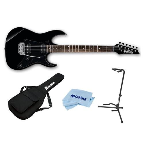 Ibanez GIO Series GRX20Z Electric Guitar Black Night - With Ibanez IGB101 Gig Bag, On-Stage Guitar Stand, Cloth (Stand Ibanez)