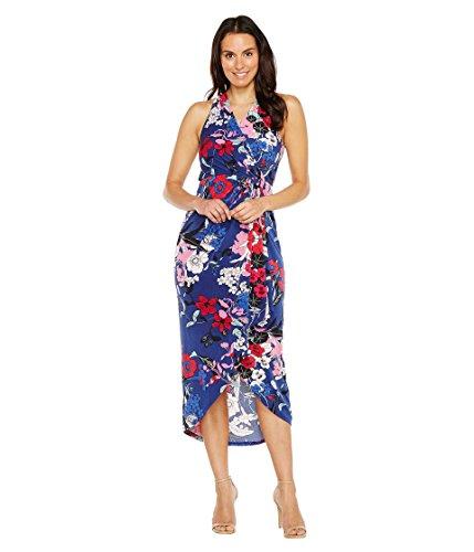 従来の献身ビクター[アドリアナパペル] Adrianna Papell レディース Halter neck High Low Wrap Dress ドレス Blue Multi XL [並行輸入品]