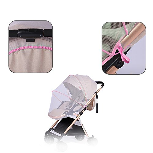 Topwon Universal Full Cover Baby Mosquito Net/Insect Mesh Netting Fits Most Strollers Bassinets, Cradles Chair seat and Car Seats Safe Elastic Design - Pink by Topwon (Image #1)