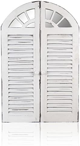 Primrose 2ft 4in x 1ft 6in Antique Glass Garden Mirror with Wooden Shutters - by Reflect™