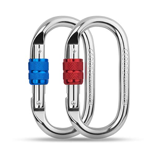 - O Shape Climbing Carabiners - 25kN Heavy Duty Alloy Steel Locking Screwgate Clips - Perfect for Climbing, Rappeling, Hiking, Camping and Outdoor Activities (Red and Blue)