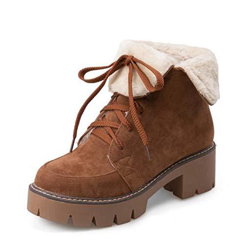 05ff520c253 T-JULY Women s Ankle Boots Cross Strap High Heels Winter Shoes Lace Warm  Plush Fur