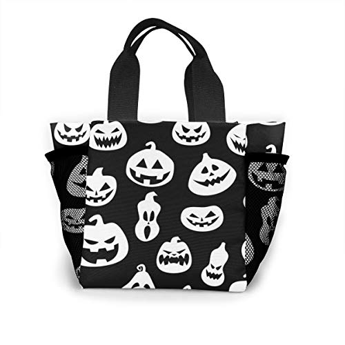 (Xiaoxiaodada Halloween with Pumpkins Shopping Tote for Women Insulated Lunch Tote Bag Cute Lunch Box Lunchbox Reusable Lunch Bag Lunch Organizer Lunch Holder for Women Adult Girls Kids Men)