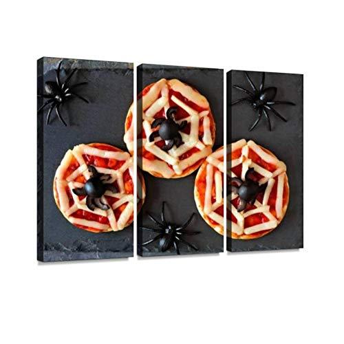 BELISIIS Halloween Spider Web Mini Pizzas, Overhead View