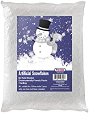 Artificial Snow 300mls Fake Snow Flakes for Christmas Tree Decoration, Village Displays - Sparkling White Dry Plastic Snowflakes for Holiday Decor and Winter Displays