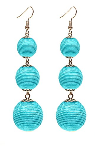 VK Accessories Thread Ball Dangle Earrings Thread Dangle Earrings Soriee Drop Earrings Beaded Ball Ear Drop Turquoise
