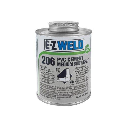 E-Z Weld 20602 Heavy Duty PVC Cement, 32 Degree F to 110 Degree F Application Temperature, 8 fl oz Can, Gray (Case of 24) ()
