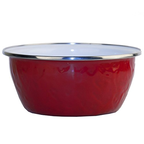 Enamelware - Red on Red Texture Pattern - 3 Cup Salad Bowl (Red Porcelain Deep)