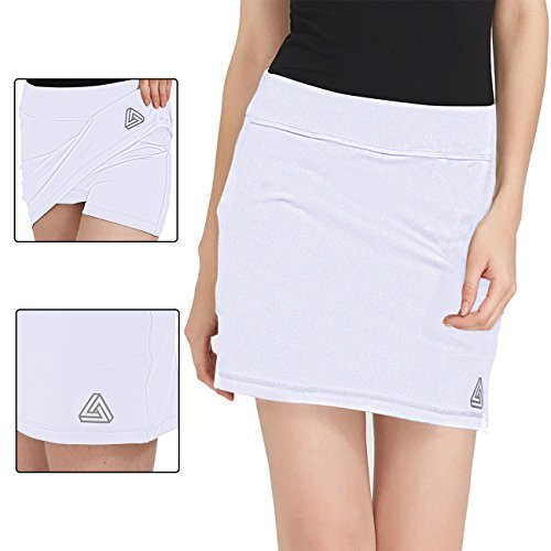 DOMICARE Women Active Athletic Skorts with Pockets - Lightweight Quick Dry Skirt with Short for Workout Sports, XS, White -