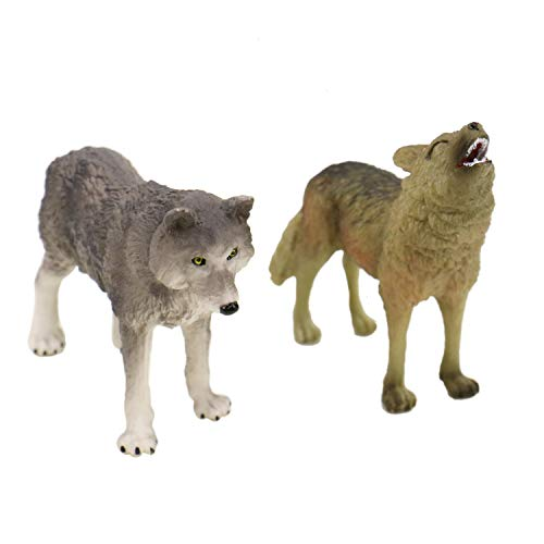 JETEHO 2Pcs Realistic Animals Roaring Wolf and Gray for sale  Delivered anywhere in USA