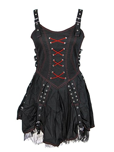 [Dark Star Gothic Punk Medieval Black Red Buckle Corset Dress (TAGGED S/M FITS S-M)] (Medieval Fancy Dress Plus Size)