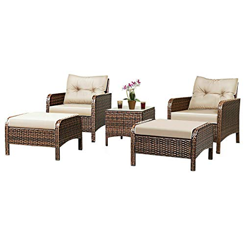 Brown Leisure Time Relaxing Daybed 5 Piece Hand Weaved Rattan Include Glass Top Drinking Console 2 Single Window-Seat 2 Stool With Padded Beautiful Inner-Outdoor Living Place Furniture Convene Sofa Se