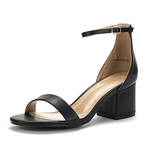 Low Heel Ankle Strap DREAM Chunk Low Sandals Pump Black Women's with Pu PAIRS zxxXqIA