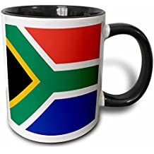 3dRose (mug_158432_4) Flag of South Africa - Colorful red green blue black white yellow multicolor African world souvenir - Two Tone Black Mug, 11oz