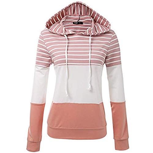 (Womens Cowl Neck Patchwork Pullover Hoodies Drawstring Sweater Long Sleeve Casual Sweatshirts Blouses Stripe Tops Pink)