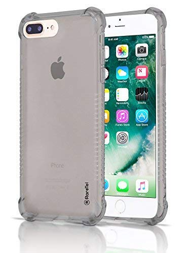 RareTel iPhone 7 Plus iPhone 8 Plus Case Black Clear Transparent - Protective Builtin No Slip Grips - Ultra Thin Shock Absorption Soft TPU Slim Design Cases - Four Corner Air Bag A Complete Protection