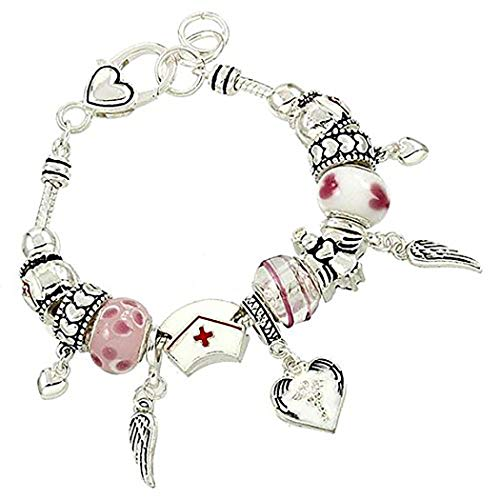 Rosemarie Collections Women's Beaded Charm Bracelet Nurse's Are Angels (Silver Tone)