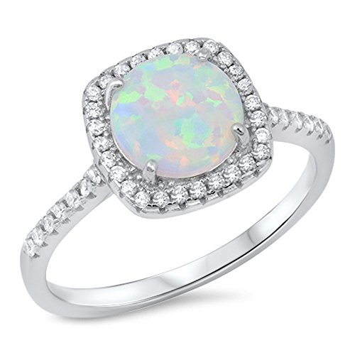 Round White Simulated Opal Micro Pave Halo Ring .925 Sterling Silver Band Size 6 -