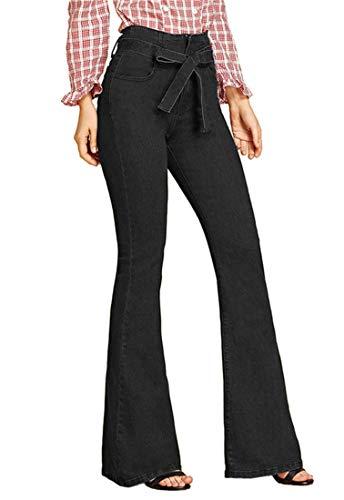FEESON Women's Fashion Belt Tied Wide Leg Slim Fit Stretch Bootcut Jeans Black (Tied Jeans)