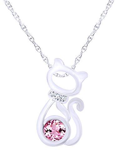 Wishrocks 14K White Gold Over Sterling Silver CAT Pendant Necklace
