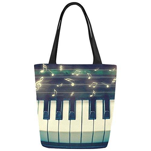 InterestPrint Music Note Piano Canvas Tote Bag Shoulder Handbag for Women Girls