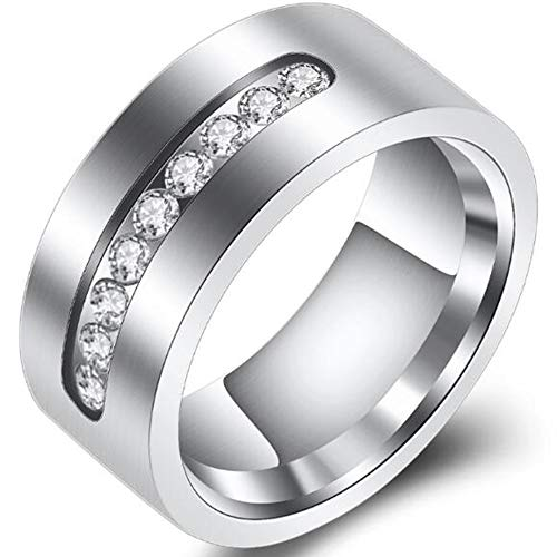 Bezel Half Eternity Band (Jude Jewelers Stainless Steel Half Eternity Wedding Band Ring (Silver Clear, 12))