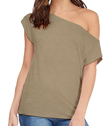 Women's Casual Off Shoulder Lose Sexy Short Sleeveless Blouse Tops T Shirt Brown (Sexy Brown One Shoulder)