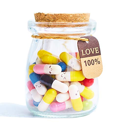 Running Ant Message In a Bottle Capsule Letter 50 Pcs Cute Smiling Face Love Friendship Half Color Pill (Love Letter To My Wife Far Away)