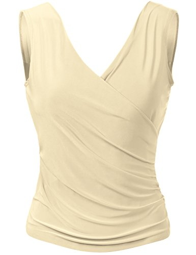 Sexy V neck Sleeveless Wrap Front Drape Party Tops (Rayon Sleeveless Wrap Top)