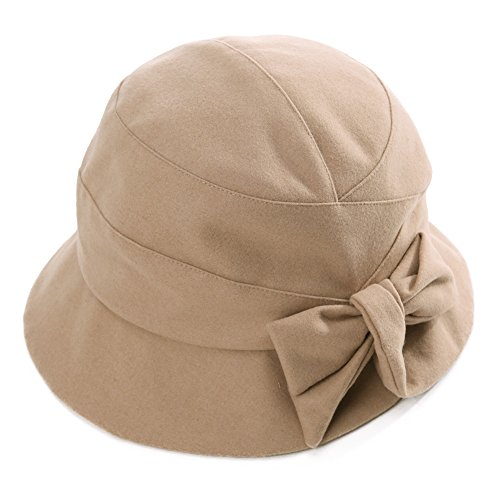 Cloche Hat for Women Winter Hat Warm Ladies 1920s Vintage Derby Church Bowler Bucket Hat Fall Foldable SIGGI (Womens Hats From The 1920s)