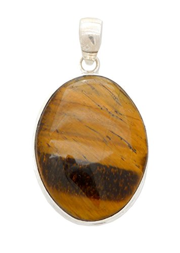 Tigers Eye Small Oval Healing Pendant Sterling Silver