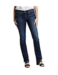 Silver Jeans Womens Plus-Size Plus Size Elyse Relaxed Fit Mid Rise Slim Bootcut Jeans