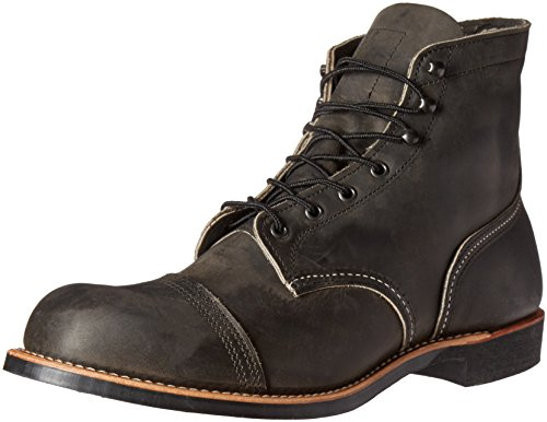 Red Wing Heritage Men's Iron Ranger Work Boot, Charcoal Rough and Tough, 10.5 D (Red Mens Boots)