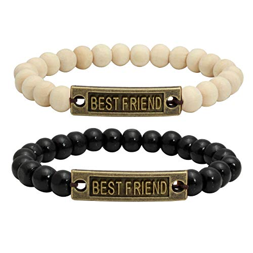 Milakoo 1 Pair Wood Beads Bracelet for Friendship Distance Bracelet Wristband Best Friends