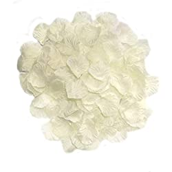 MayaRed 2000 PCS 22 Colors Silk Rose Petals Wedding Flower Decoration (ivory)