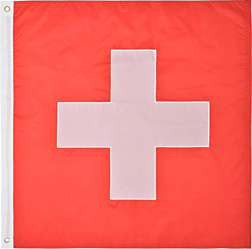 Green Grove Products Switzerland Flag 3' x 3' Ft 210D Nylon Premium Outdoor Swiss Flag