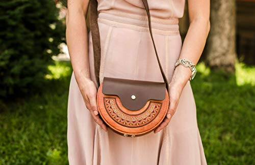 Wooden Mini Crossbody Leather Bags for Women 8.2-6.7 inches - Handmade Wood Small Genuine Leather Ladies Satchel Clutch Shoulder Bag Brown - Unique Fashion Designer Cowhide Organizer from Leather Craft Designs