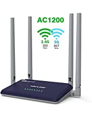 WAVLINK Wifi Router AC1200 Wireless Access Point 5GH and 2.4GHz Dual Band Smart Router Long Range Extender With 4x5dBi High Gain Antenna,Household Broadband Fast Ethernet- Black