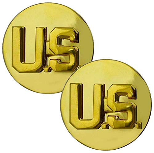 U.S Army Collar Disks Pins Golden Pair Set