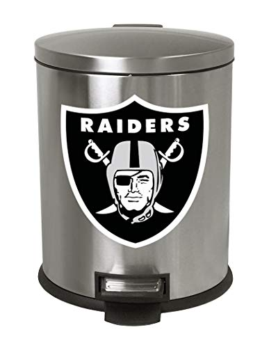 The Furniture Cove 1.3 Gallon Oval Stainless Steel Step Trash Can Waste Basket Featuring Your Favorite Football Team Logo! -