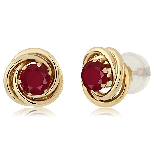 Gem Stone King 0.60 Ct Round 4mm Red Ruby 14K Yellow Gold Stud Earrings ()