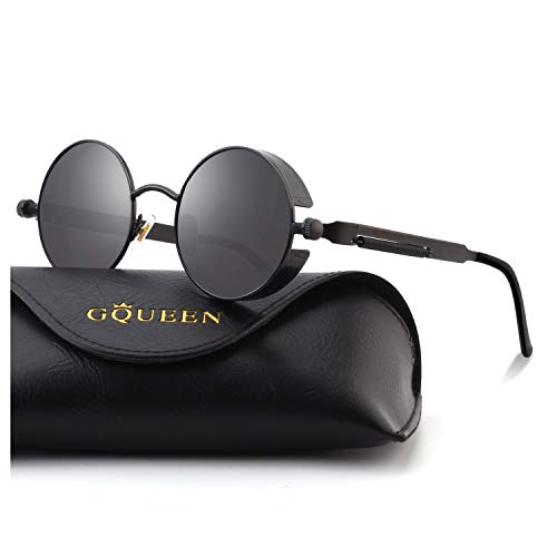 GQUEEN Retro Round Circle Steampunk Sunglasses Polarized Metal Alloy for Women Men MTS2]()