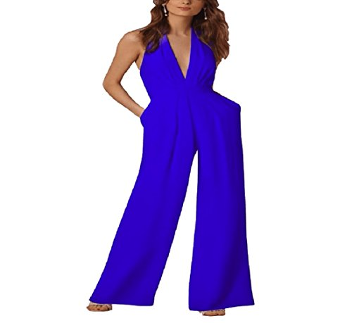 Playa Playsuit Rojo Azul color Cóctel Jumpsuit Vestido Noche Elegante Yisaesa Dress Backless Summer Tamaño Mangas Las Mujeres Largo De Sin Jumper Sg Uwxwqa71v