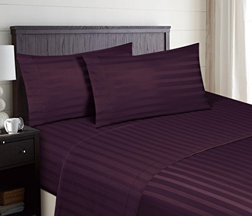 HC Collection Microfiber King Striped Bed Sheets Set, Dobby Stripe - Eggplant