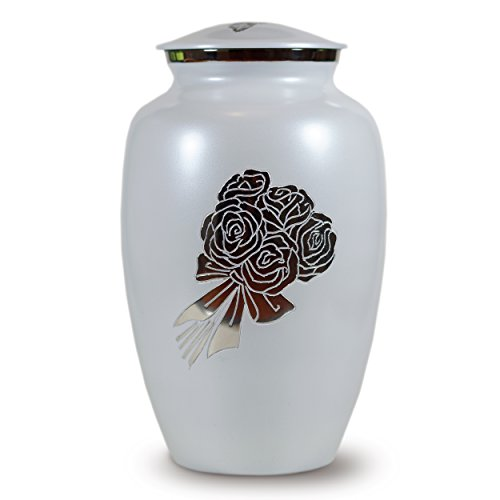 Classico Memorials - Cremation Funeral Urn for Human Ashes - White with Roses - Suitable for Burial (Bouquet) (Vaults For Urns)