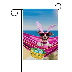 vantaso jardín bandera decorativa, diseño de perro con orejas de conejo de Pascua con huevo poliéster impresión a doble cara Fade prueba para patios al aire libre jardín 12X 18inch
